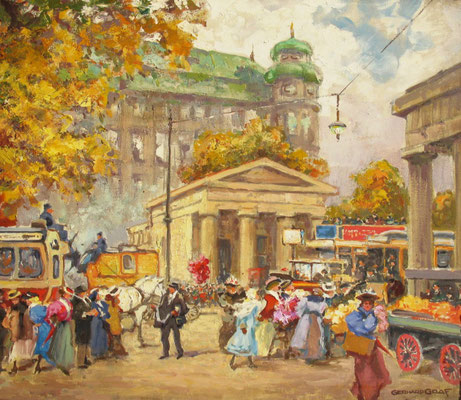 Reges Treiben auf dem Leipziger Platz II, ca. 1928, Öl Lw, 60 x 75, sign., Privatbesitz Potsdam, WVZ 0302