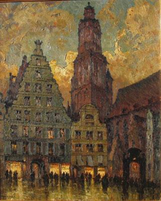 0578 Belebte Ansicht eines nächtlichen Platzes in Breslau II, Öl auf Sperrholz, 80 x 67 cm, l. u. sign., gerahmt