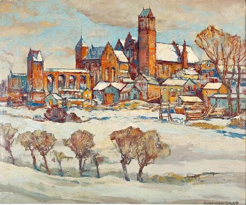 Zamek krzyzacki w Kwidzynie - Ordensburg Marienwerder I, olej plótno, ca. 1932, 60 x 70, sygn., Sopocki Dom 2020-05-09, Cena wywoławcza 2.400 PLN, WVZ 0019