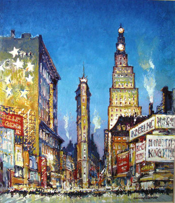 Paramount und Flatiron Buildings am Times Square in New York, 1927, Gouache, 22 x 19, sign., Privatbesitz Werder/Havel, WVZ 0193
