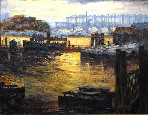 0273 Abendstimmung im Hamburger Hafen mit Werftanlagen II, Öl auf Leinwand, 70 x 90,5 cm, r. u. sign., gerahmt