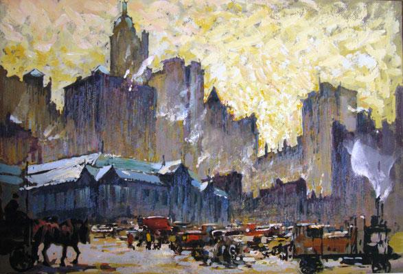 Die Markthallen von New York, 1927, Gouache, 21 x 31, auf dem PP bez. und sign., Privatbesitz Werder/Havel, WVZ 0184