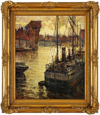 0494 Danzig - Blick über die Mottlau auf das Krantor I, Öl Lwd, 80 x 67, r. u. sign.