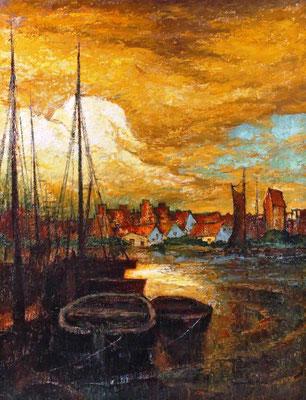 0543 Abend in Wismar um 1920 II, Öl Lw, 90 x 70, u r sign, nicht gerahmt