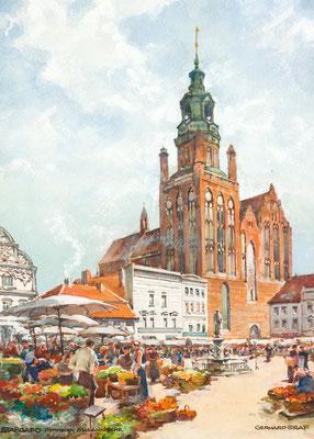 Stargard Pommern - Marienkirche, Aquarell, ca. 1933, 66 x 47, 5, r. u. sign., l. u. betitelt