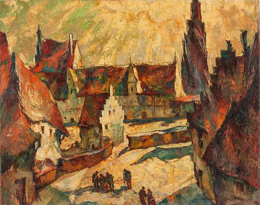 0496 Fränkische Kleinstadt, wohl Dinkelsbühl, um 1928, Öl auf Leinwand, 80 x 100 cm, r. u. sign.