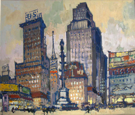 Platz in New York, 1927, Gouache, 22 x26, Privatbesitz Werder/Havel, WVZ 0185