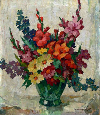 0581 Gladiolenstrauß, Öl auf Leinwand, 60 x 50 cm, r. u. sign., gerahmt