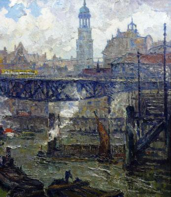 0119 Hamburg - Über dem Alsterfleet um 1930, Öl auf Leinwand, 70 x 60 cm, r. u. sign., gerahmt