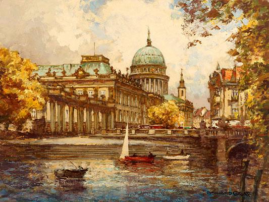 Potsdam, Blick auf das Stadtschloss mit Nikolaikirche II, Öl Lwd., um 1920, 60 x 80, WVZ Nr. 0295, Standort unbekannt