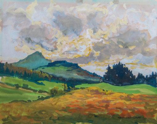 0507 Mittelgebirgslandschaft mit aufziehenden Wolken, Gouache, 38 x 46 cm, r. u. sign.