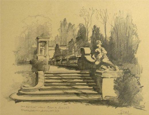 Potsdam: Im Park Sanssouci, Bleistiftzeichnung 1937, 15 x20, Privatbesitz Brandenburg, WVZ-Nr. 0301