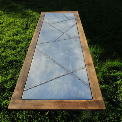 table zinc bois brulé