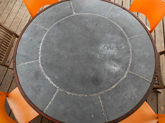Table de jardin touret - zinc - bois flotté