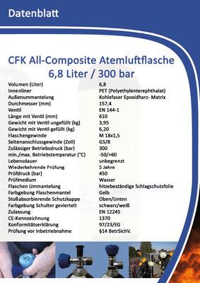 CFK Atemluftflasche 9,0 Liter 300 bar