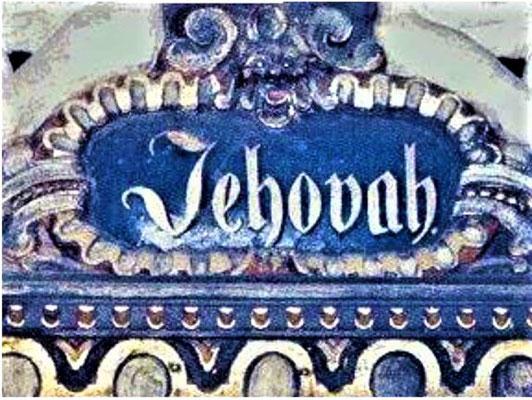 Qu'ils sachent que toi, ton nom est Yahweh, tu es seul le Très-Haut sur toute la terre! Magnifiez avec moi Yahvé, exaltons ensemble son nom. JEHOVAH au-dessus d'une porte de l'église de Fehmarn en Allemagne