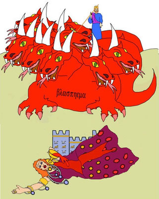 Babylone la grande chevauche la bête sauvage écarlate, symbole du pouvoir politique, avec qui elle a eu des relations immorales. Elle est ivre du sang des saints car, avec l'aide de ses amants, les rois de la terre, elle a versé beaucoup de sang innocent.