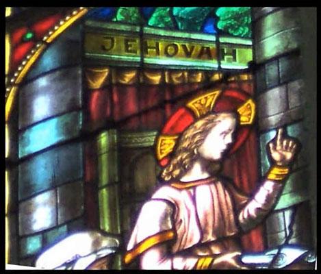 Le Nom personnel de Dieu Jéhovah écrit à l'église saint Fiacre, Dison en Belgique