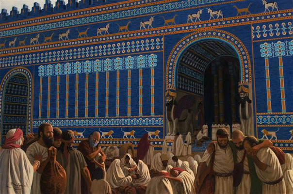Les Hébreux déportés à Babylone « la perle des royaumes, la fière parure des Babyloniens » d'après Esaïe 13 :19, ont sans doute pu admirer les plus de 120 lions ailés typiques de l'art babylonien dans les bas reliefs du chemin de procession à Babylone.