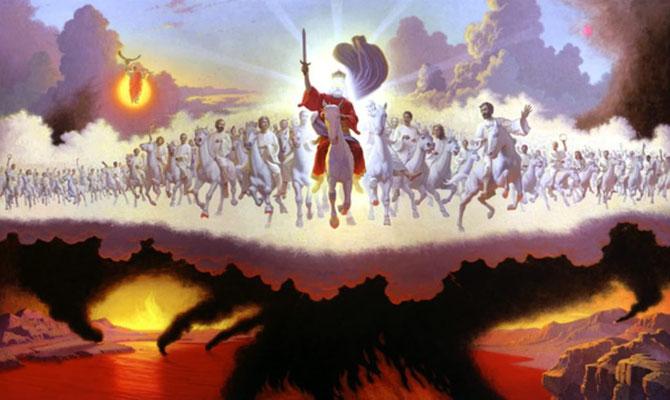 Les armées célestes des anges sous le commandement de Jésus sont vêtues de blanc et chevauchent des chevaux blancs.