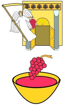 un autre ange sort du Temple, tenant aussi une faucille tranchante et reçoit l'ordre de lancer la faucille afin de vendanger la vigne de la terre.