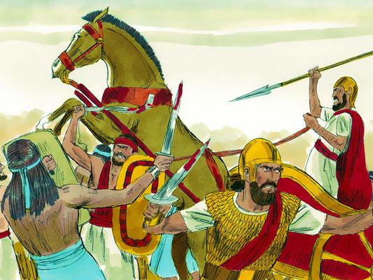 La cavalerie du roi Salomon comptait 12'000 cavaliers. Les chevaux et leurs cavaliers étaient répartis sur plusieurs villes. Le roi achetait les chevaux en Egypte, il fallait 150 pièces d'argent pour faire venir un cheval !