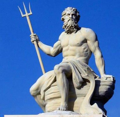 Dieu Poséidon, dieu des Grecs polythéistes. L'absurdité des idoles faites de matière putrescible ou corruptible - Idolâtrie.