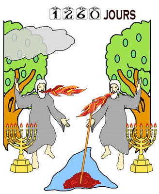 Le deuxième malheur correspond à la sixième sonnerie de trompette. Les 2 Témoins habillés de sacs prophétisent pendant 1260 jours une grande extermination et la fin de ce monde.