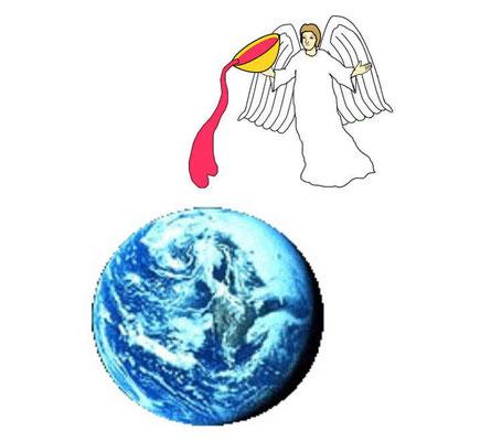 En Apocalypse 16, le 2ème ange verse la coupe de la colère de Dieu sur la mer. En Apocalypse 18, le 2ème ange sonne de la trompette et une grande montagne embrasée est précipitée dans la mer. Le 2ème ange versa sa coupe sur la mer et elle devint du sang.