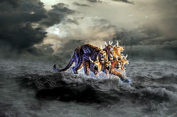 La mer caractérisée par le mouvement incessant des vagues soumises au vent et charriant boues et impuretés symbolise l'humanité agitée opposée à Dieu. C'est de cette masse tumultueuse d'humains que provient la bête qui sort de la mer.