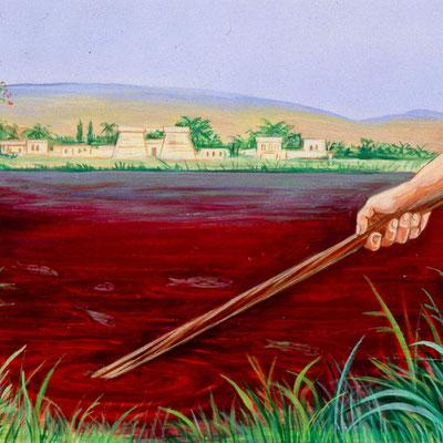 Les eaux du fleuve se changent en sang, ce qui provoque la mort des poissons et de nombreux animaux aquatiques. Le Nil ne peut plus irriguer les cultures, abreuver les animaux. Les Egyptiens sont obligés de creuser loin du fleuve devenu infect pour l'eau.
