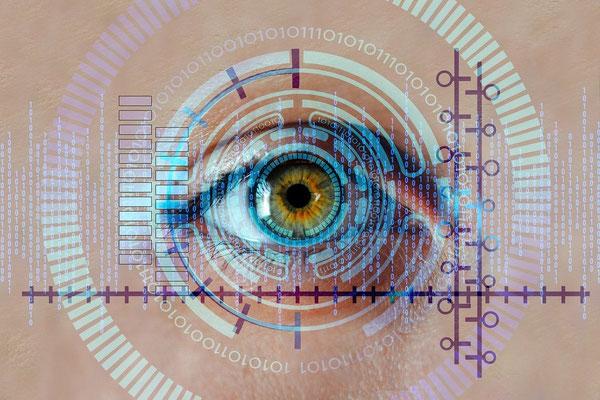 Les yeux sur la corne arrogante qui s'élève et surpasse les autres matérialisent l'accès à toutes les informations, grâce à une technologie de pointe, peut-être semblable au réseau de surveillance qu'a mis en place la Chine.