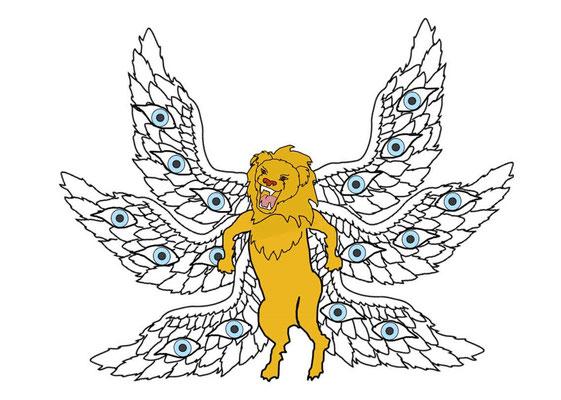 Les anges qui vont verser les coupes de la colère de Dieu, une mission qui nécessite une justice sans faille, portent une écharpe d'or sur leur poitrine, sur leur cœur, c'est le chérubin à tête de lion incarnant la Justice qui leur a donné les coupes.