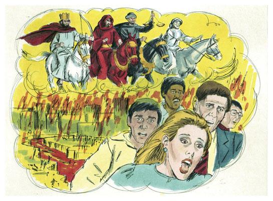 La couleur rouge feu est aussi la couleur du 2ème cheval de l'Apocalypse chargé d'ôter la paix de la terre. On peut donc associer la couleur écarlate de la bête d'Ap 17 à la guerre, à la violence, à la destruction, au sang versé, au péché, au diable.