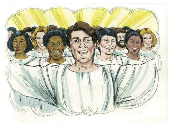 Les vêtements blancs évoquent la pureté et la dignité. L'épouse spirituelle du Christ est vêtue d'un fin lin symbolisant les œuvres justes des saints. Les 144'000 cohéritiers du Christ et les chrétiens de la grande foule portent des robes blanches.
