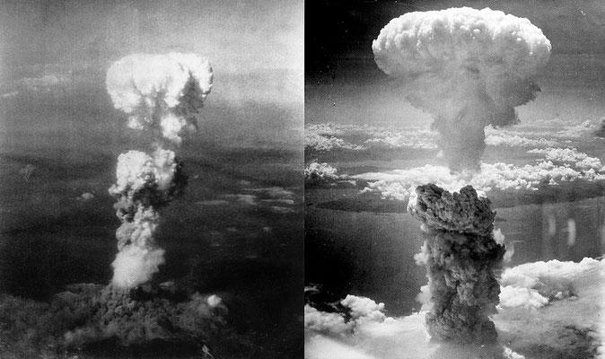 Les Américains lancent deux bombes nucléaires sur les deux villes japonaises, Hiroshima et Nagasaki, les 6 et 9 août 1945, 200'000 morts, des brûlures terribles. La Bible avait prophétisé cela dans le livre de l'Apocalypse.