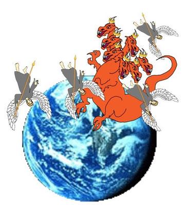 Après la guerre qui aura lieu dans les cieux, Satan et ses anges seront précipités sur la terre. Il est écrit que Satan est en colère car il sait qu'il ne lui reste que peu de temps.