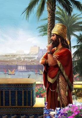 Daniel explique le rêve à Nébucadnetsar: L'arbre majestueux est coupé et cerclé pour 7 temps. Le roi Nébucadnetsar va sombrer dans la folie pendant 7 ans et vivre parmi les bêtes sauvages en raison de son orgueil. Il retrouvera son pouvoir après ces 7 ans