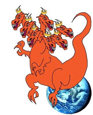 Le dragon est Satan le Diable lui-même, de couleur rouge feu qui évoque la guerre et la violence (comme le 2e cavalier de l'Apocalypse). Il possède 7 têtes et 10 cornes ce qui le relie directement aux bêtes d'Apocalypse 13 et 17, puissances politiques.