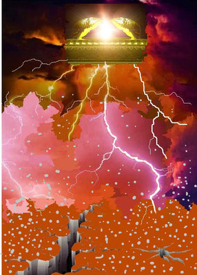 Eclairs,  voix, coups de tonnerre, tremblements de terre, grêle, vent, feu  (la montagne embrasée), sonneries de trompette, les astres qui s'obscurcissent ou qui deviennent rouge-sang, la fumée sont vus ou vécus par les habitants de toute la terre.