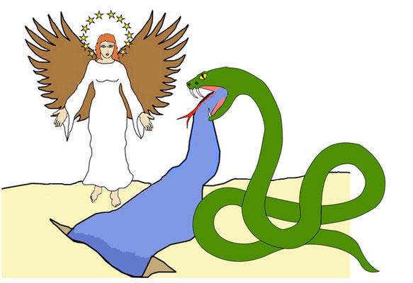 Alors le serpent vomit de sa gueule comme un fleuve d'eau derrière la femme, afin qu'elle soit entraînée par le courant. Mais la terre secourut la femme: elle s'ouvrit et engloutit le fleuve que le dragon avait lancé de sa gueule.