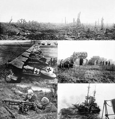 """La guerre 14-18 qui a commencé à dos de cheval  a vu naître les premiers avions de guerre, les lance-flammes , les chars, la mitrailleuse (600 coups par minute), les obusiers comme « la grande Bertha"""", les gaz asphyxiants, les sous-marins de guerre..."""
