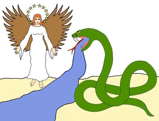 Après avoir été précipité sur la terre, le serpent (Satan) vomit un fleuve pour noyer la femme (l'organisation de Jéhovah représentée sur la terre par les fidèles chrétiens).