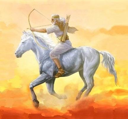 Le chapitre 6 concerne l'ouverture des 6 premiers sceaux qui ont vu apparaître les 4 cavaliers de l'Apocalypse. Le premier cavalier à apparaître est Jésus-Christ sur un cheval blanc et tenant un arc.