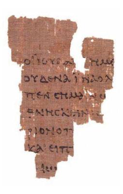 Le papyrus P52 ou P. Rylands GK. 457 est le plus vieux manuscrit connu du Nouveau Testament. Recto