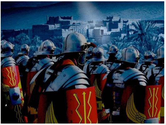 L'empire romain avec ses armées invincibles est représenté par une bête terrible aux dents de fer qui broie tout sur son passage. Dans la Bible la statue géante a des jambes en fer symbolisant l'empire romain.