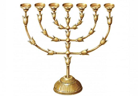 Dans le Saint (hékal) se trouvent la menora ou chandelier à 7 branches (ou porte-lampes), la table des pains d'offrande et l'autel des parfums, tous sont en or pur ou recouverts d'or.