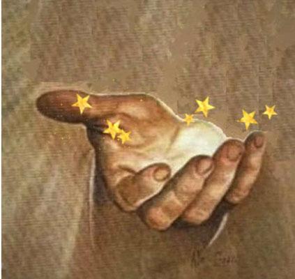 7 étoiles dans la main droite de Jésus.  Apocalypse 1:20: « Quant au mystère des sept étoiles que tu as vues dans ma main droite et des sept chandeliers d'or: les sept étoiles sont les anges des sept Eglises et les sept chandeliers sont les 7 églises.