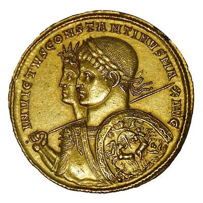 L'empereur Constantin avec le dieu Sol Invictus, le dieu soleil. A l'origine de la fête de Noël, la renaissance du soleil.
