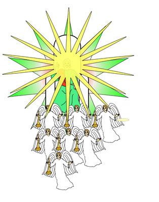 Tout au long du chapitre 16, les 7 anges vont, l'un après l'autre, verser sur la terre les 7 coupes de la colère divine. Leurs effets décrivent les mêmes évènements que les 7 trompettes au chapitre 8. L'un des anges montre l'épouse de l'Agneau à Jean.